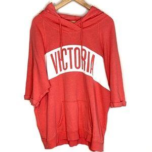 Victoria's Secret coral baggy short sleeve hoodie